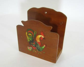Rustic Napkin Holder with Rooster and Hen Decal   Wood Napkin Holder Wall Mount / Tabletop   Rustic Kitchen Decor   Farmhouse Kitchen