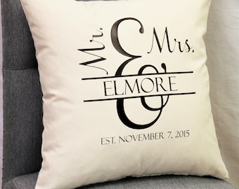 Mr. and Mrs. Pillow Cover- Custom Throw Pillow- Anniversary Gift- Wedding Gift- 16x16 Zippered Cushion Cover- Choose Colors- Personalized
