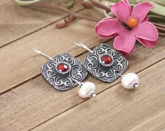 Artisan Handmade Sterling Silver Textured Earrings w/ Garnet CZ & Freshwater Pearl, PMC Metal Clay