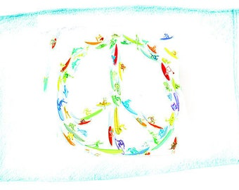Peace Sign Surf Egyptian Cotton Standard Size Pillowcase by Surf and Mirth for Ditch Ink