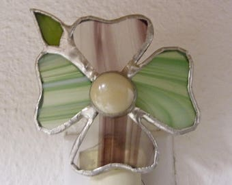 flower night light green purple stained glass on off switch wall plug in