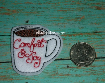 Coffee Cup Comfort and Joy Feltie white felt - Great for Hair Bows, Reels, Clips and Crafts - Cup of Joe Mug Holiday Drink