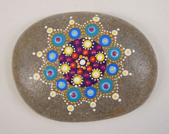 Hand Painted Rock with Geometric Design 033