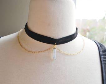 Blue Crystal Quartz Chain Velvet Choker Necklace