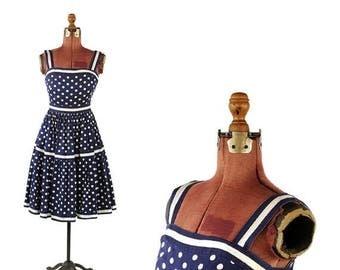 ON SALE Vintage 1950's Navy Blue White Polka Dot Summer Rockabilly Full Skirt Pin Up Garden Party Dress S