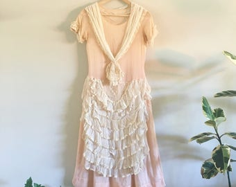 1920s Dress / lace 1920s Dress / pink 1920s Dress / Dress / Jazz Age Dress / Great Gatsby Dress / Extra Small Small / 34 Bust