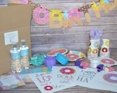 Donut Themed Birthday Party-In-A-Box. Custom Party Box. Donut Party. Custom Birthday Invites. Donut Birthday Party. Celebration Creation