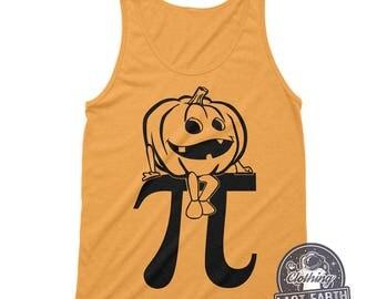 Pumpkin Pi Tank Top Funny Halloween Shirt Math Shirt Nerd Shirt Geek Gift Pumpkin Shirt Womens Graphic Tees Racerback Tank Workout Tank