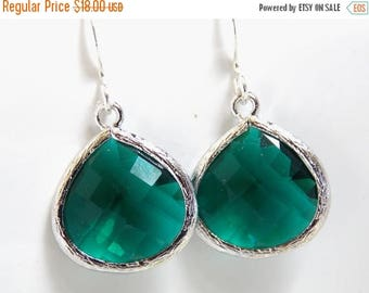 SALE Emerald Earrings, Glass Earrings, Green Earrings, Silver Emerald, Dark Green, Bridesmaid Earrings, Bridal Earrings Jewelry, Bridesmaid