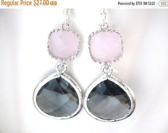 SALE Gray Earrings, Pink Earrings, Grey Earrings, Charcoal, Glass, Wedding Jewelry, Bridesmaid Earrings, Bridesmaid Jewelry, Bridesmaid Gift