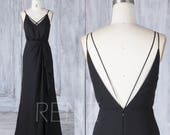 Bridesmaid Dress Black V Neck Spaghetti Strap Chiffon Wedding Dress,V Back Maxi Dress,Asymmetric Ruffled Skirt Ball Gown Full Length(L336)