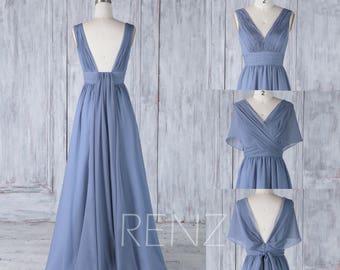 2017 Steel Blue Convertible Top Bridesmaid Dress, A Line Chiffon Wedding Dress, Ruched V Neck Prom Dress, Deep V Back Ball Gown Floor (H507)