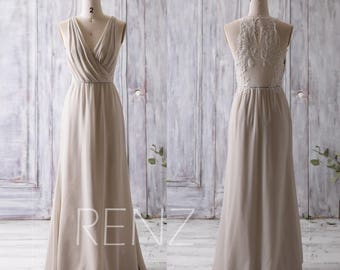 2017 Cream/Beige Bridesmaid Dress Long, Ruched V Neck Wedding Dress, Lace Back Prom Dress, Maxi Dress, Chiffon Evening Dress Floor (L092)