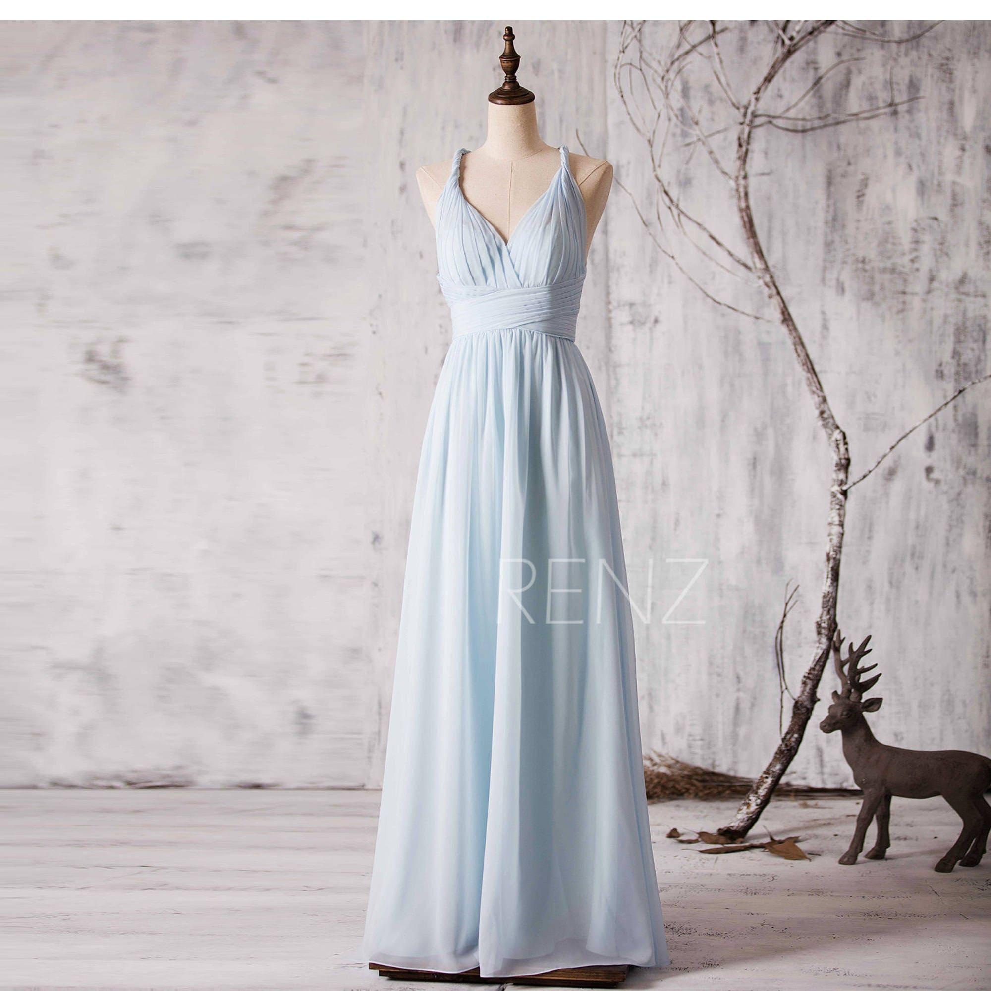 Bridesmaid dress light blue v neck wedding dresscriss cross zoom ombrellifo Images