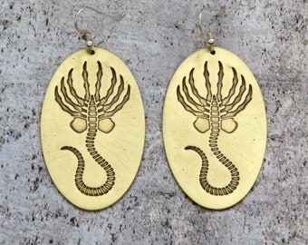 Alien Facehugger Earrings, Brass