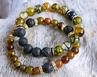 Unisex Stretch Lava Rock Bracelet Gemstones Aromatherapy Diffuser Jewellery scented Amber colours Nature Dragon Agate black crystal
