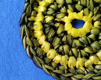 Black and Yellow Plarn Dish Scrubby, recycled plastic bags, eco-friendly dish scrubber