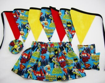 Wonder Woman Birthday Party - Wonder Woman Skirt - Fabric Banner - Fabric Garland - Hair Clip - Party Game - Party Favors - Girl Power