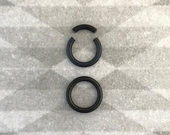 Jet Black Titanium Segment Ring. Septum - nostril - navel - cartilage - nipple - lip.