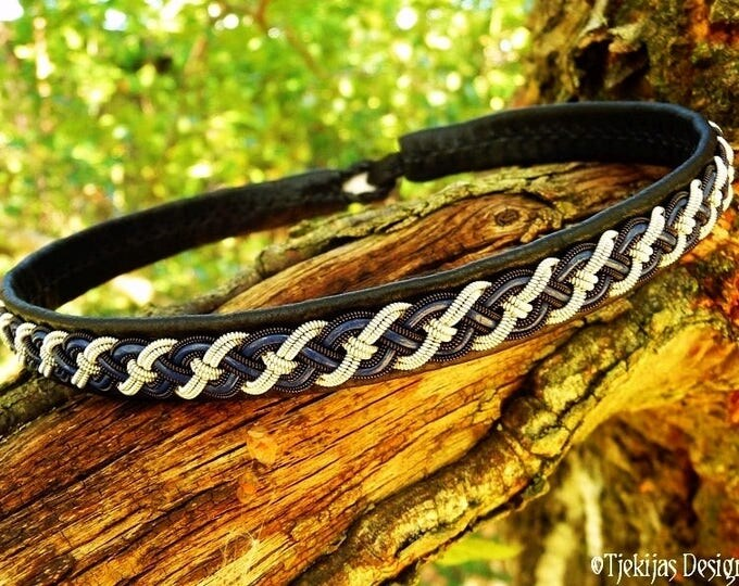 Sami Necklace NIFLHEIM Viking Leather Choker Custom Handmade Black and Blue with Black Copper and Pewter Braid