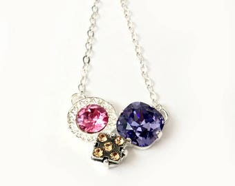 Tanzanite Dreams - Swarovski Heart Crystal Pendant - Sterling Silver Cable Chain