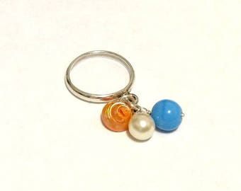 Sterling Silver Dangle Charm Ring - Tiny Shell and Blue Bead