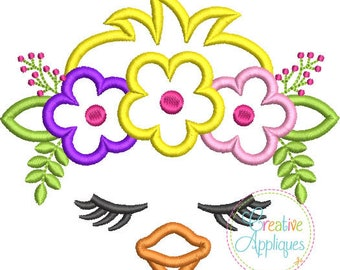 Chick Face with a Crown of Flowers - Appliqued and Personalized