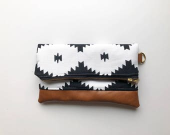 Black and white aztec clutch with brown faux leather