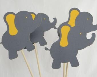 Elephant Centerpiece, Elephant Theme, Elephant Birthday, Elephant Baby Shower, Gray and Dark Yellow, Set of 4 Elephant