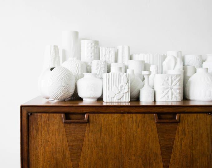 Large Scale Mid Century Matte White Porcelain Botanical Vase // Michaela Frey // AK Kaiser