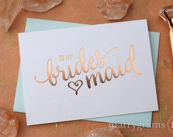 ROSE GOLD FOIL To My Bridesmaid, Wedding Party, Bridal Thank You Cards Wedding Day Bridesmaid, Matron Maid of Honor Flower Girl (Set 8) CS15