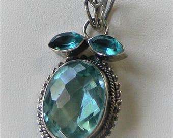 Big aquamarine  pendant in sterling