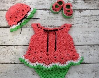 Crochet Baby Dress Set Watermelon B Dress Set  Baby Dress Set Crochet Diaper Dress Set knit Watermelon Infant Dress Baby Shower Gift