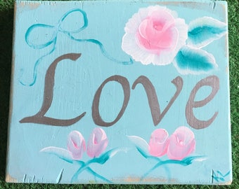 Shabby Chic Love Sign in Turquoise