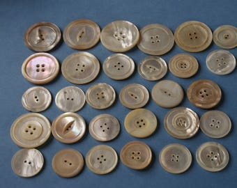 "Vintage 30 Large Over Size  Mother of Pearl Buttons MOP 1 1/8 to 1 7/16"", Lot 1895"