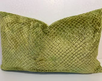 LIME GREEN pillow, chartreuse velvet SNAKESKIN design,Lime zest apple green pillow, Designer Guild,Green velvet pillow, apple green chenille