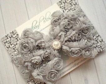 SALE Large Gray Shabby Chiffon Rose Bow on Wide Lace Headband - Baby Girl Photo Prop - Newborn Toddler Girls - Flower Girl Wedding