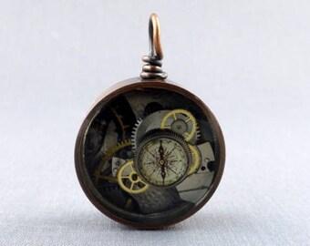 Steampunk Bezel Pendant, Vintage Watch Parts, Resin, Reversible, Solid Antique Copper