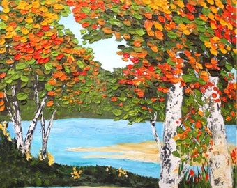 """SALE Enormous  Oil Landscape  Abstract Original Modern Acrylic palette knife  """"Lake Views""""  impasto oil painting by Nicolette Vaughan Horner"""