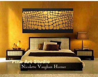 "SALE XLarge Antique gold metallic Oil Landscape Abstract Original 48"" palette knife oil  impasto oil painting by Nicolette Vaughan Horner"