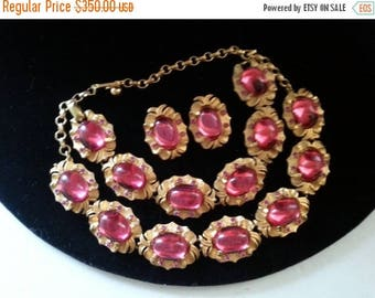 Now On Sale Rare Vintage Tara Parure Pink Rhinestone Designer Signed 1950s High End Old Hollywood Glam Jewelry Necklace Bracelet Earring Set