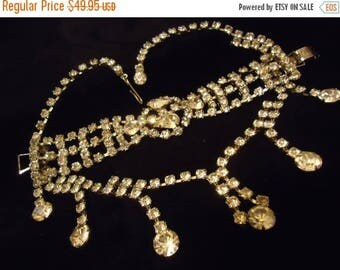 Now On Sale Vintage Rhinestone Bib Necklace Bracelet Set 1950's Hollywood Regency Mad Men Mod Collectible Demi Parure Jewelry Rockabilly Acc