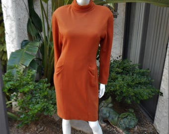 Vintage 1980's Albert Nipon Burnt Orange Wool Dress - Size 6