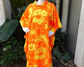 Vintage 1970's Hilo Hattie Orange & Yellow Foral Print Caftan - One Size Fits Most