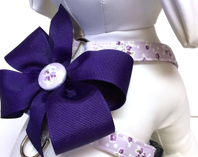 Featured listing image: Dog Harness- The Violet- Adjustable Harness with Removable Bow