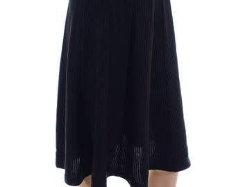 Vintage 90s Kastix Black Stretchy Textured Pleated Midi Swing Skirt UK 12 US 10