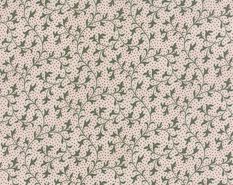 15% off thru Mar.19th MIDNIGHT CLEAR green vines red pin dots on starlight white by the yard 3 Sisters Moda fabric Christmas 44115-11 cotton