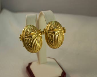 Gerard Yosco Gold Plated Scarab Beetle Clip Earrings