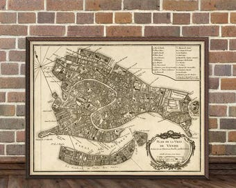Venice map - Old map of Venice - City map print - Fine reproduction