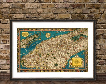 Illustrated map of Manhattan -  Fine print  city map reproduction
